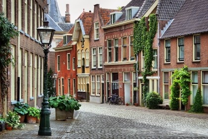 An old Dutch street in Leiden, Netherlands