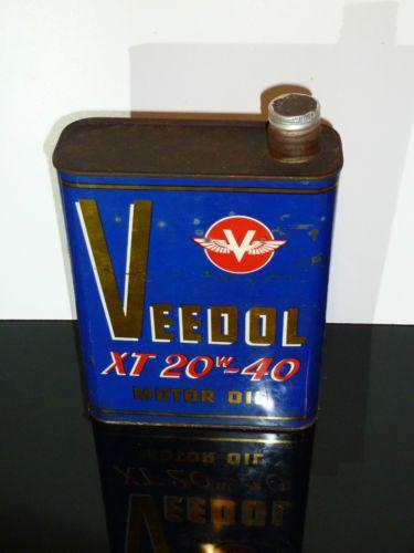 ancien bidon huile vintage veedol xt 20w40 deco garage industriel pompe essence bidon d huile. Black Bedroom Furniture Sets. Home Design Ideas