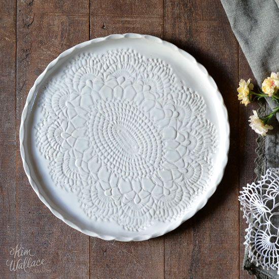 Vintage Lace ~ serving plate 24cm, Handmade Australian Ceramics - KW Ceramics