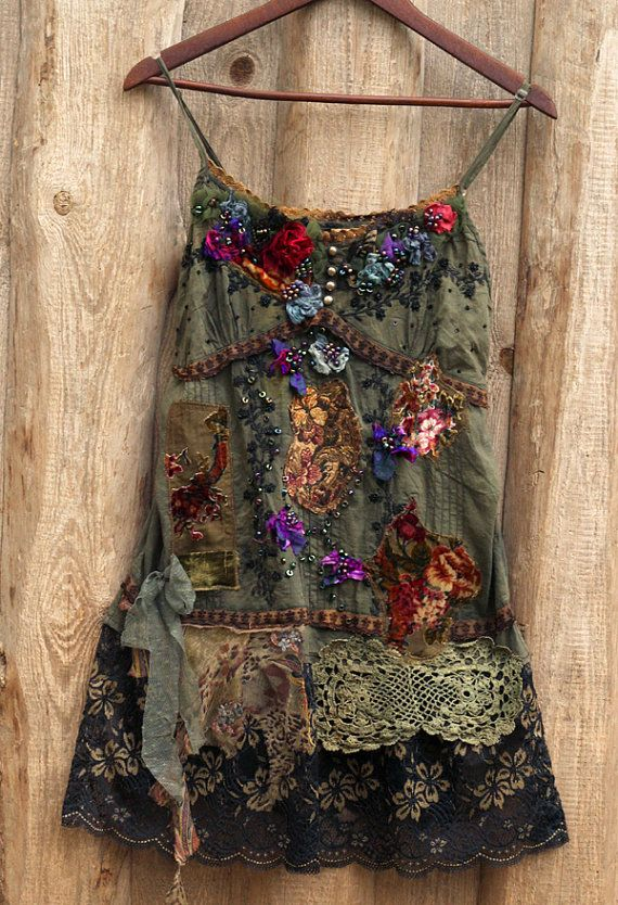 Woodland violets top, colorful tunic, bohemian, altered couture, embroidered and beaded details