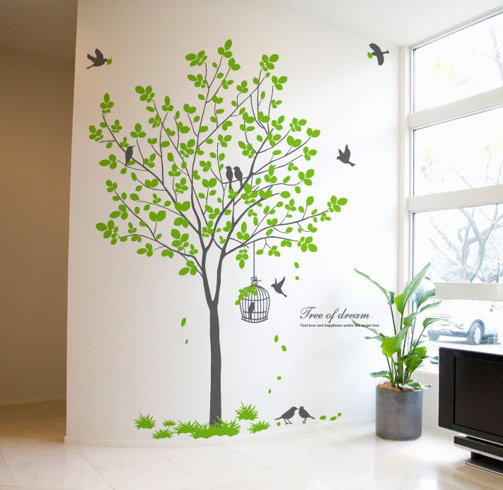 Green Tree With Birdcage Wall Decor Stickers Art Decals