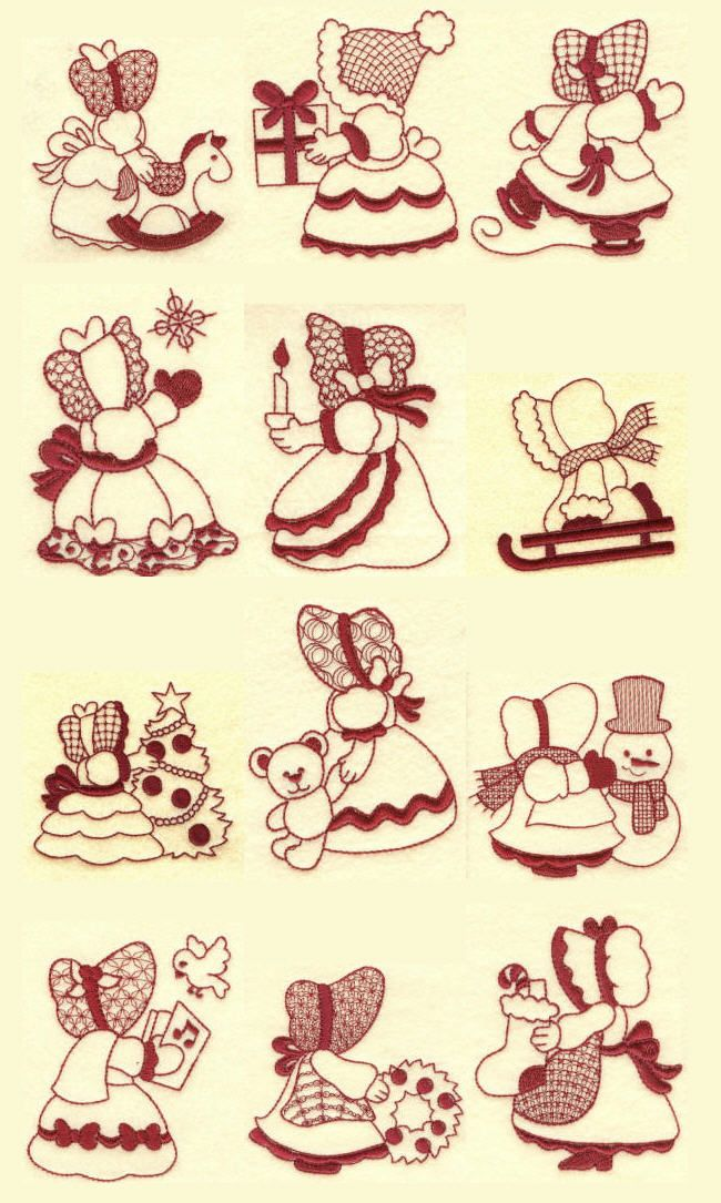 Embroidery | free machine embroidery designs | Sunbonnets Christmas Redwork