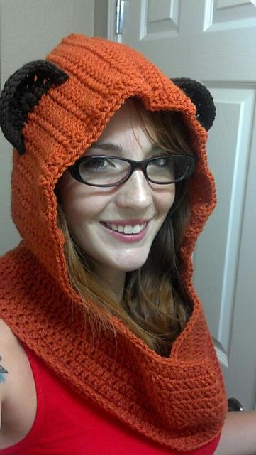 Ravelry: Adult Ewok hooded cowl crochet pattern by Amber Flowers