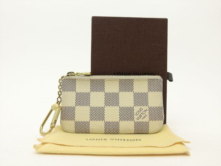 Louis Vuitton Authentic Damier AZUR Key Chain Coin Purse Wallet Auth LV #LouisVuitton #CoinPurse