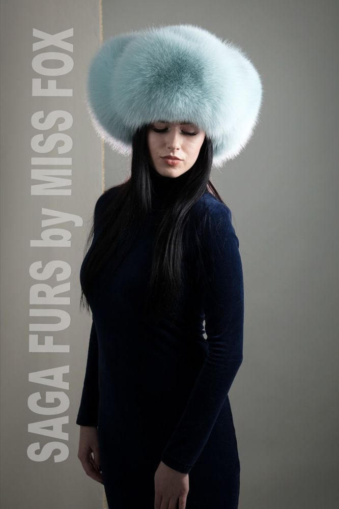 ca6ba388 Fasten with buttons, but available pompons. Highest quality Shadow Blue fox  fur hat.In Light mint. Hat has regulator inside lining.