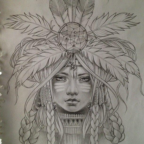 Great White Buffalo Native American Headdress Tattoo: Native American Indian Girl In Skull Dreamcatcher Print
