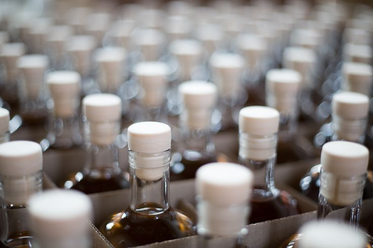 Bottles patiently waiting for further processing.