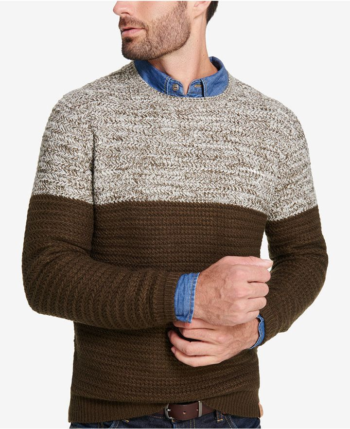 Weatherproof Vintage Men's Colorblocked Marled Sweater