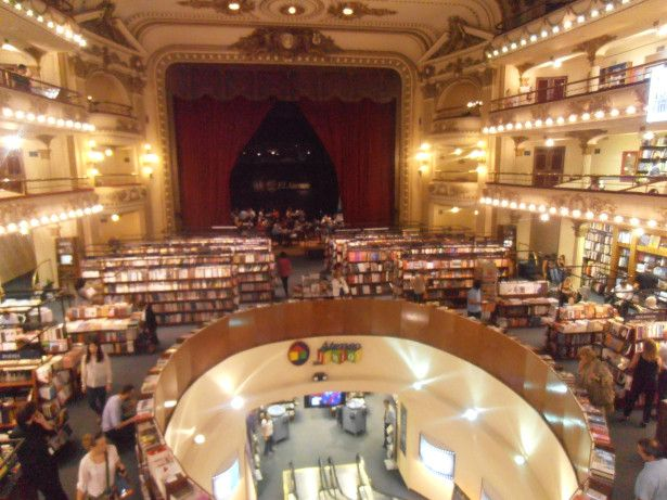 El Ateneo, Buenos Aires, Argentina  Most beautiful library I`ve seen, located in an old theatre. It is a very good example of a functional conversion that maintains the cultural atmosphere of the original building. The café of the library is located on the scene. From the balconies on the first and second floor you can admire a memorable view.