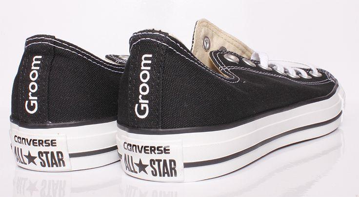 Groom Converse. Black Converse with customised GROOM on the heels.