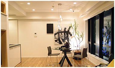 ライオンズタワー目黒川 モデルルームのリビング すべてLED照明のダウンライト