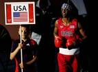 U.S. boxer Jamel Herring enters the ring prior to his Men's Light Welter (64kg) boxing bout with Daniyar Yeleussinov of Kazakhstan on Day 4 of the London 2012 Olympic Games.