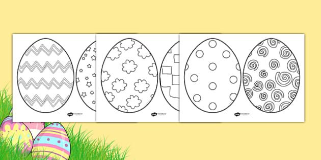 Easter Egg Colouring Sheets A Set Of Six Easter Egg Templates For Children To Colour In And C Coloring Easter Eggs Easter Egg Template Easter Coloring Sheets