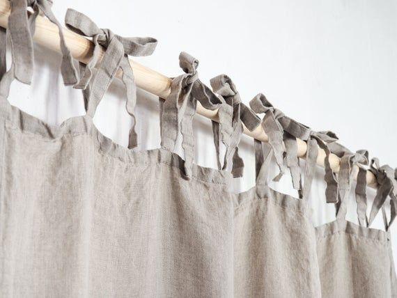 natural linen curtain tie top linen