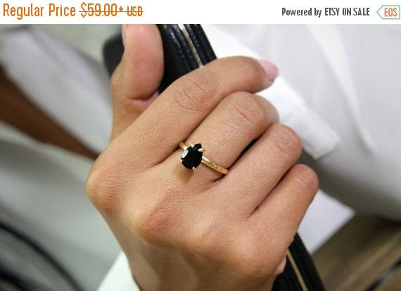 25% OFF SALE - gold ring,black diamond ring,black onyx ring,teardrop ring,pear drop ring,gemstone ring,delicate stack ring,gold stone rings