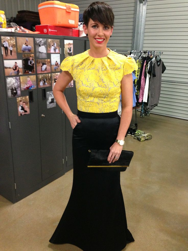 Evening gown. Yellow lace top. Black evening skirt.