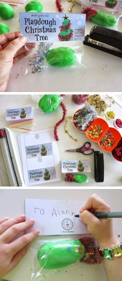 {DIY Chistmas Tree Playdough Gift} *Plus free printable labels - This would be cute to hand out to classmates right before Christmas break.