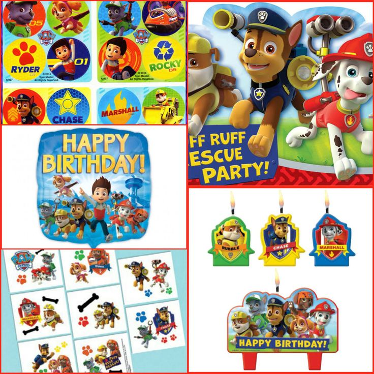 Details about paw patrol balloons invitations table covers for Paw patrol tattoos