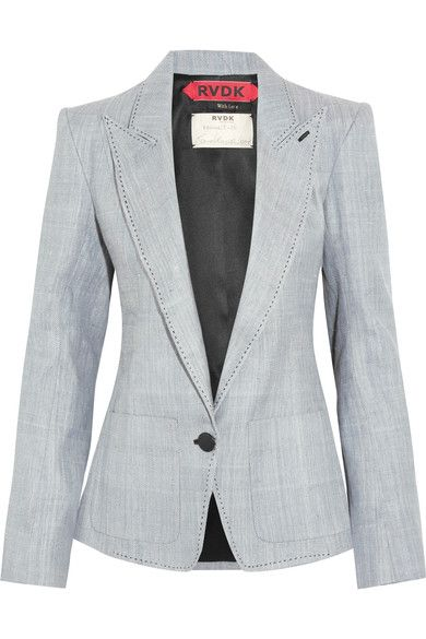 Ronald Van Der Kemp - Leather-trimmed Denim Blazer - Light denim - FR38