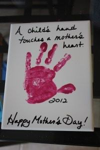 DIY Mothers Day Gift for Kids cute-mother-s-day-ideas.   I could put Erin's hand & my hand on the canvas for my mom. :)
