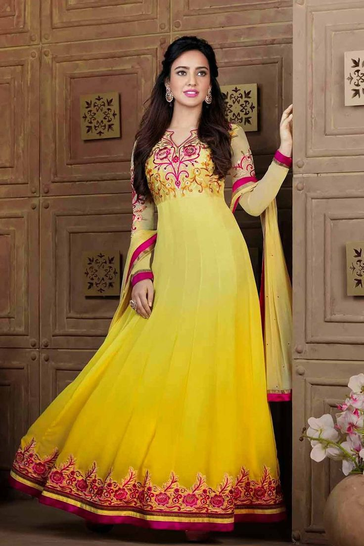 Zohraa.com presenting Yellow Faux Georgette #Anarkali #Suit with Embroidered and Lace Work  Order Now@ http://zohraa.com/neha-sharma-suit-yellow-faux-georgette-anarkali-suit.html  Rs. 3,249.