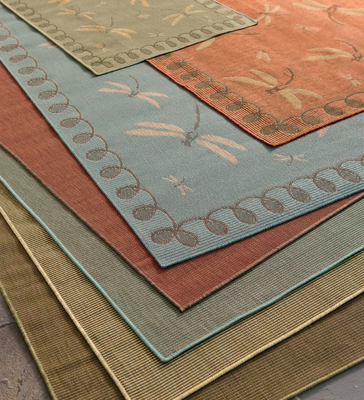 Make Your Porch Or Patio Cozier With These Dragonfly Or Solid Outdoor Rugs.