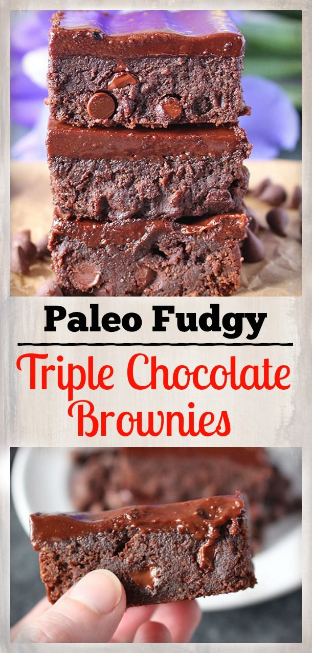 Paleo Triple Chocolate Brownies- gluten free, dairy free, and so delicious!
