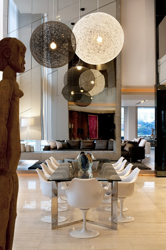 High Ceiling Dining + Light Fixtures