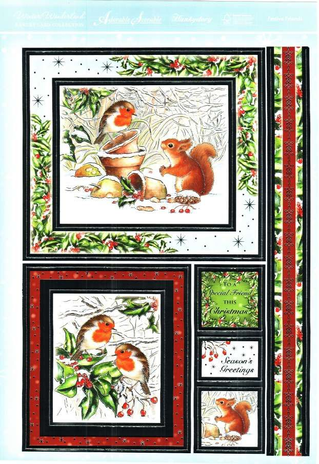Hunkydory Winter Wonderland die cut toppers & card - Festive Friends, robins, squirrel