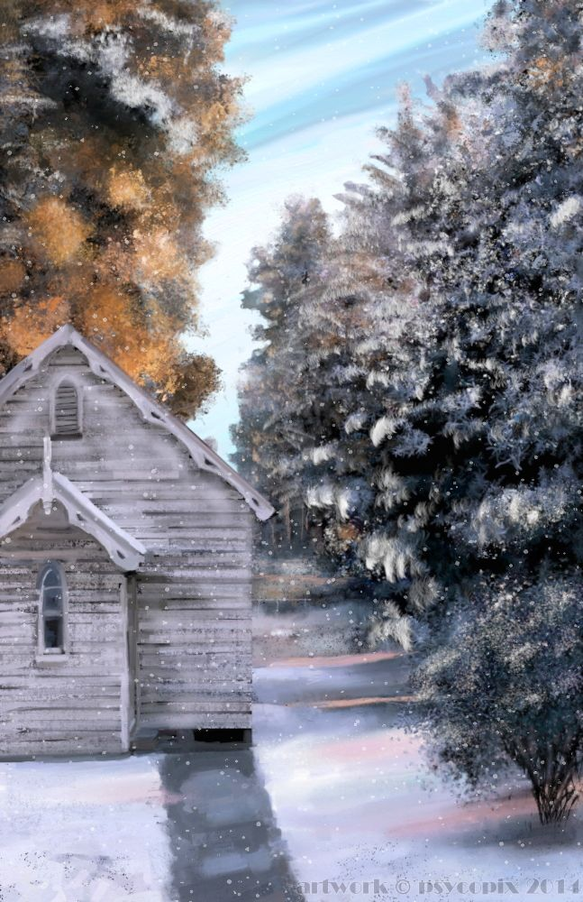 This church in the snow was painted digitally by me in ArtRage from a photograph taken by a family member in Mt Victoria, the Blue Mountains, NSW Australia. This painting won a prize on my deviantART account.