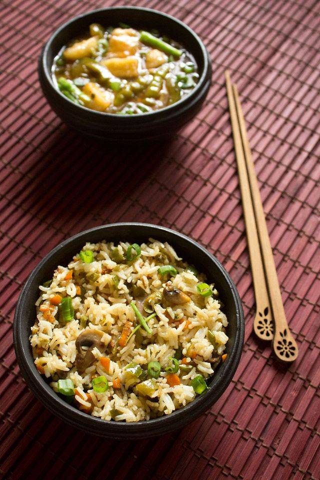 veg fried rice - an easy to make minimally spiced veg fried rice recipe.  #IndoChinese #Rice_Recipes #Vegan