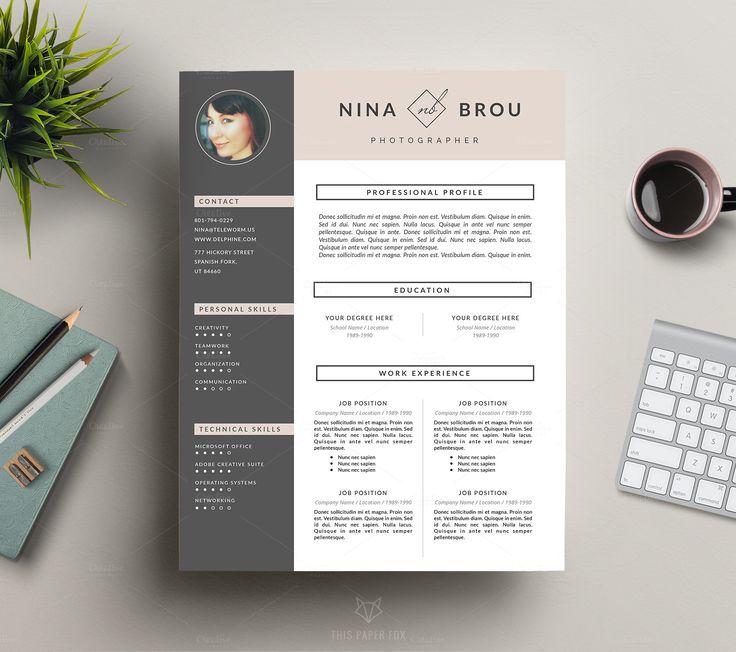 Feminine Resume Design | CV by This Paper Fox on @creativemarket