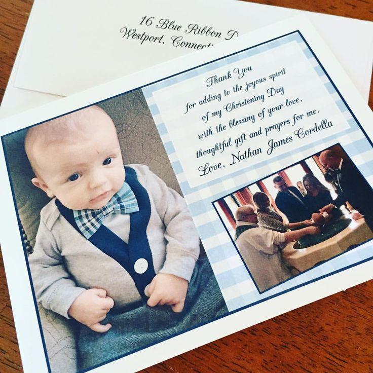 10 Piece Gental Plaid Baptism/ Christening Thank You Cards