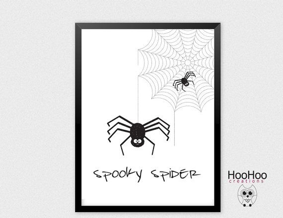 Printable Spooky spider poster Halloween wall by HooHooCreations