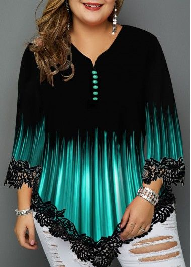 Plus Size Printed Asymmetric Hem Blouse | modlily.com - USD $31.05 9