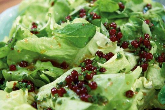 Knallgrünen Kopf- und Feldsalat machen wir mit einer herb-süßen Preiselbeervinaigrette an.
