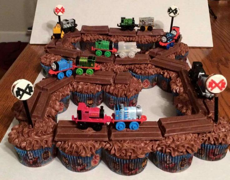 Bday idea for boys...bake cupcakes or buy store bought...add kit kats for train tracks and add toy train...take oreo and add pretzel stick into 1 end. .. dip into white melted choclate...when dry decorate like crossing signs