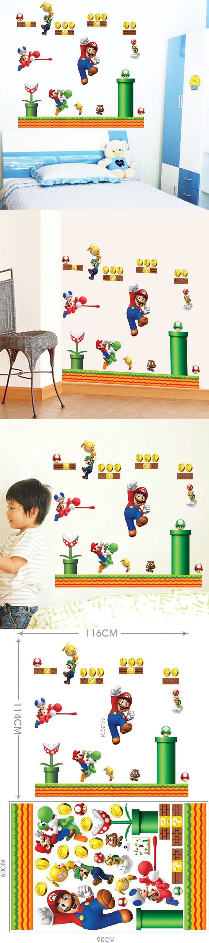 9 best video game pictures images on pinterest pictures video saturday monopoly diy home decor large super mario bros wall stickers fro kids rooms