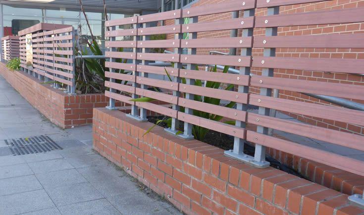 Jarrah Screen; commercial eatery #ModWood #Screen #Fence,