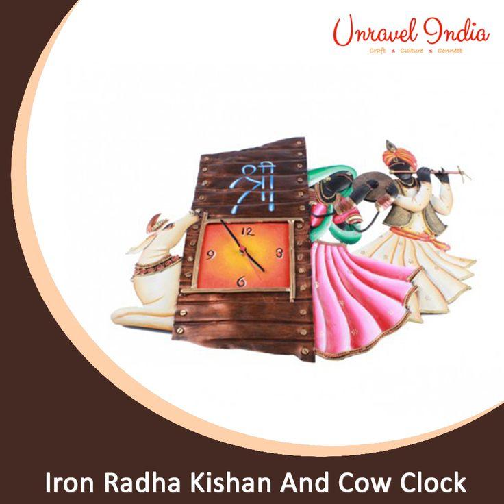 Unravel India wrought iron Radha Kishan And Cow Clock   #Wallwatch #Wallclock #Stylishwallclock #Homedecorwallclock