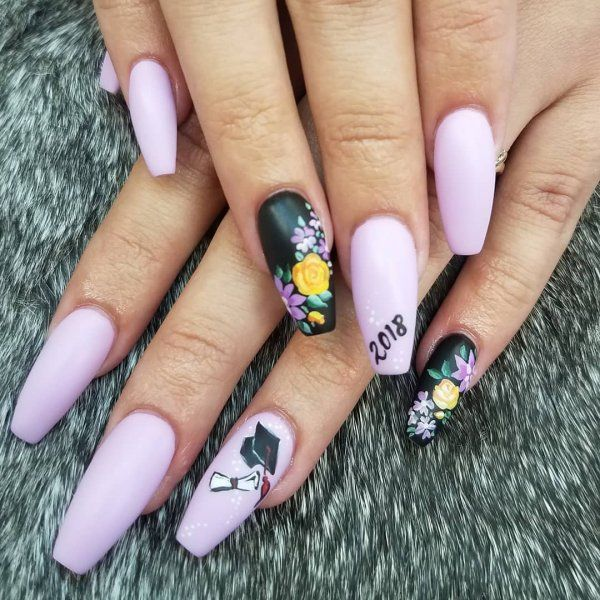 Purple And Black Graduation Nails Pic By Mellobunny6x3 Graduation Nails Nailart Partynails Graduation Nail Designs Graduation Nails Party Nails