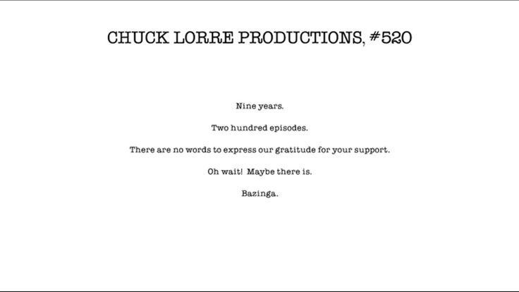 Chuck Lorre Vanity Card #520-For the 200th Episode of The Big Bang Theory
