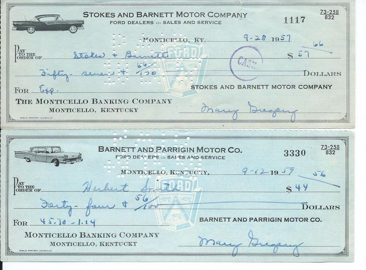4 - 1950s & 60s Bank Checks from Ford Car Dealers with Pictures of Ford Cars KY.  For sale on ebay by mosaicowl
