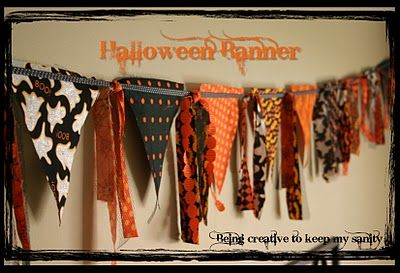 Can't get enough banners! I might make a no-sew version of this if I'm too lazy to get out my machine. OR buy Halloween fabric on clearance after Halloween and make it next year...