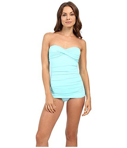 9caf3f49b6e Tommy Bahama Womens Pearl Twist-Front Bandeau One-Piece Swimsuit ...