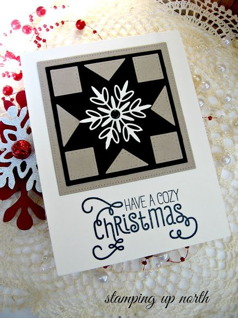 handmade Christmas card ... black, white and gray ... die cut quit patch block in star pattern ... die cut whte snowflake ... sophisticated graphic look ...