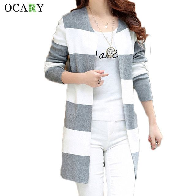 Fashion Knitted Ladies Tops Spring Summer Women Cardigans Striped Long Sweater Mujer Femme Crochet Rebecas Tricotados