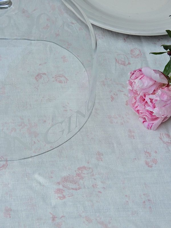 Peony & Sage Lydia ~ Powdery Pinks on Oyster White Linen
