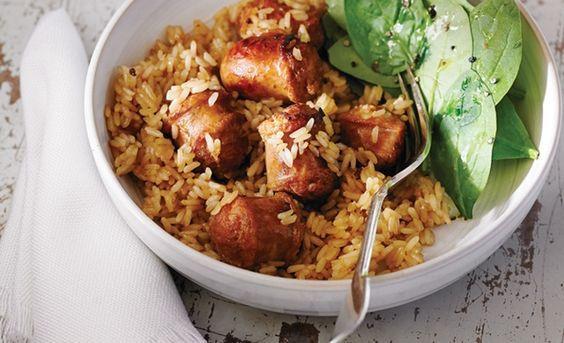 Casserole de saucisses et riz à l'érable