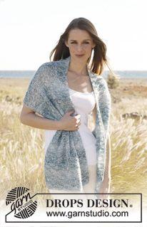 """Gebreide DROPS sjaal in ribbelst met gevallen st van """"Kid-Silk"""" en """"Baby Alpaca Silk"""". ~ DROPS Design"""